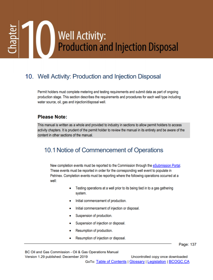 Ops Manual chapter snippets Chpt 10